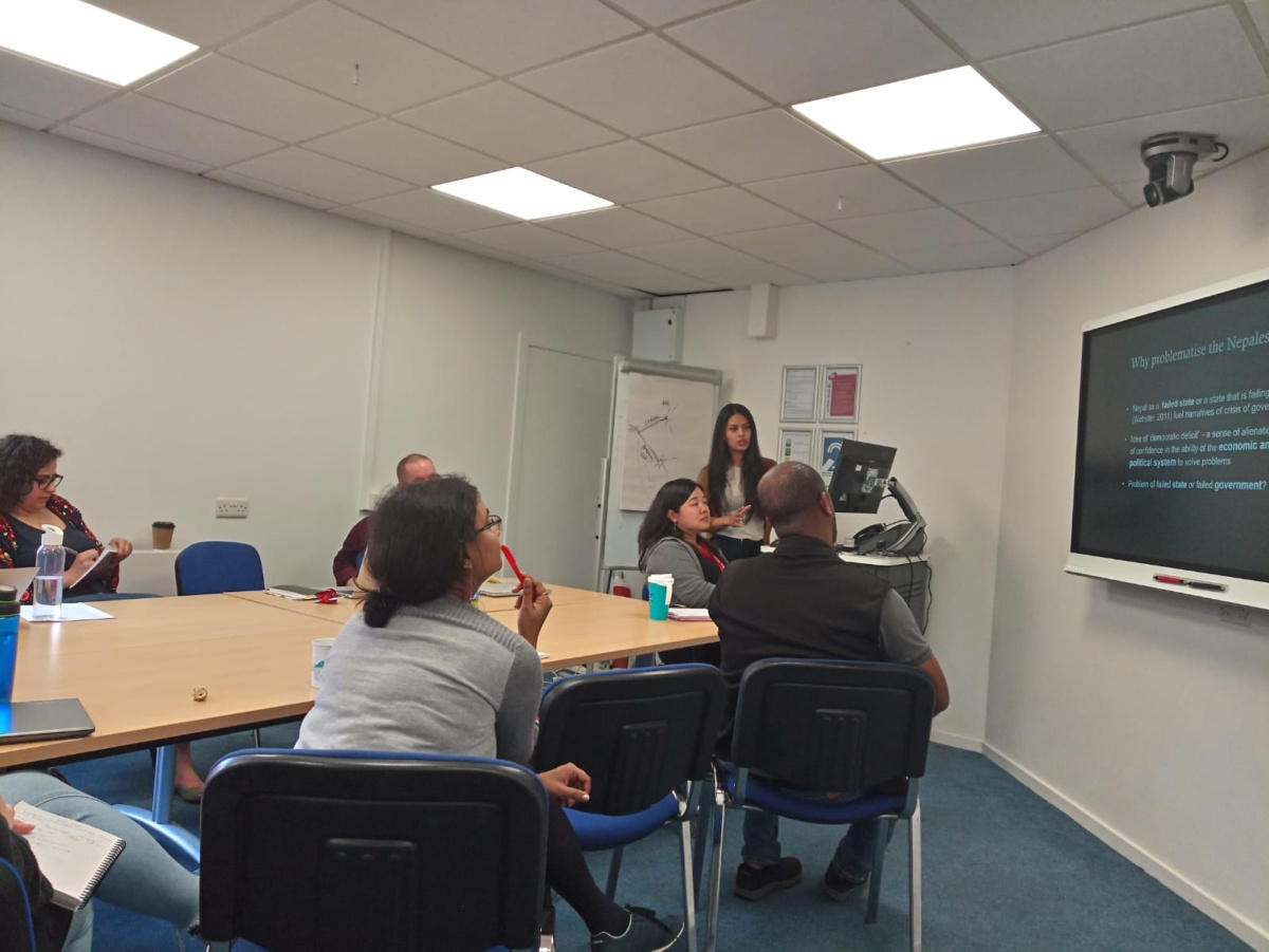 Ankita Shrestha presents her research during her secondment at IDS, Sussex