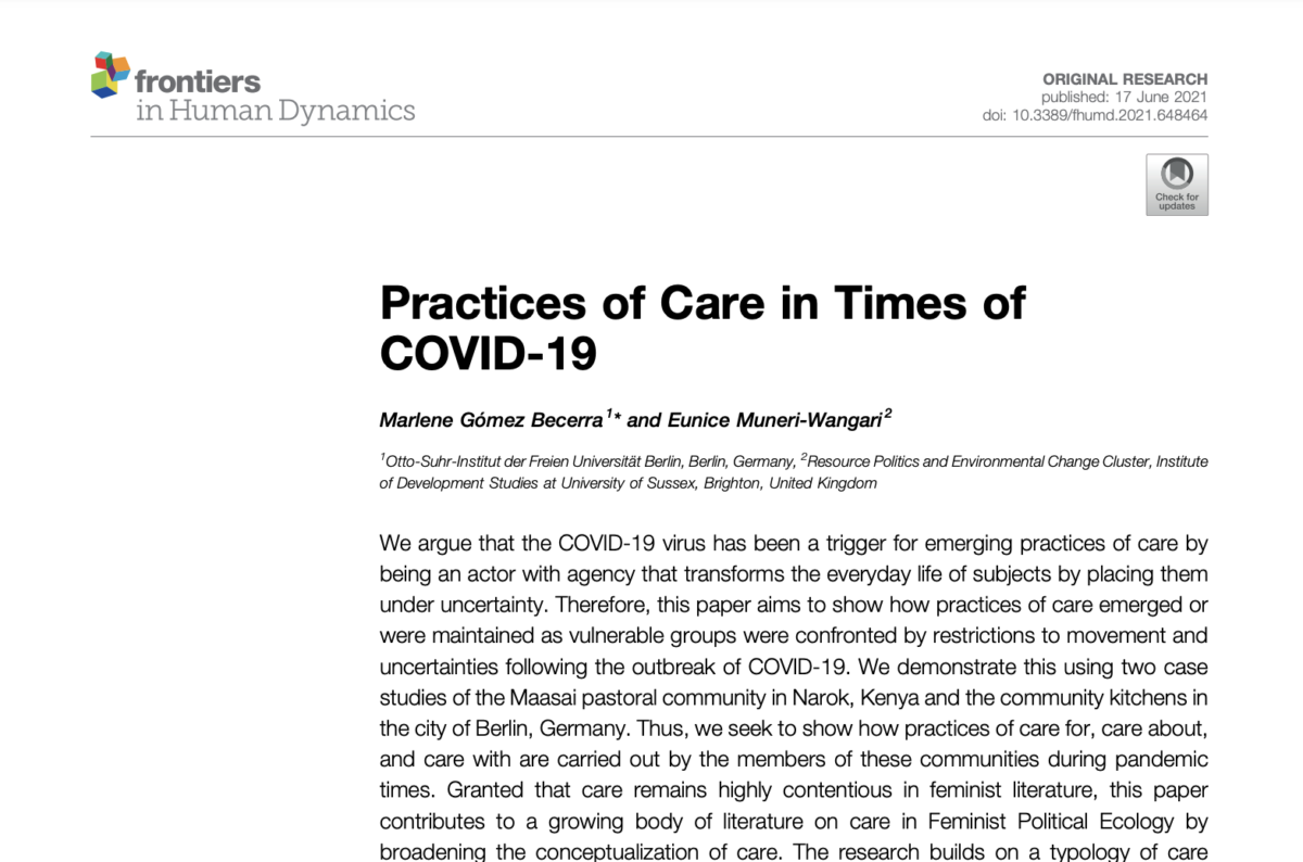 """New article: """"Practices of Care in Times of COVID-19"""""""