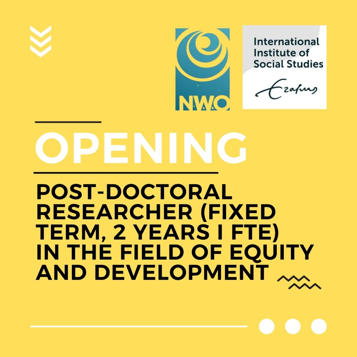 Opening: Post-doctoral researcher in the field of Equity and Development